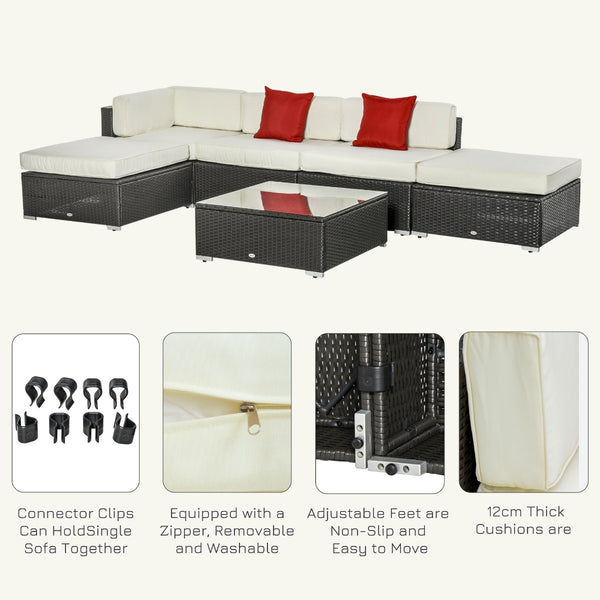 6pc Deluxe Rattan Wicker Outdoor Sectional Sofa Garden Patio Set - Off White