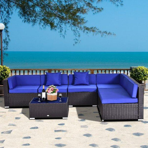7pc Wicker Patio Furniture Sectional Sofa Set with Cushions Navy & Varients