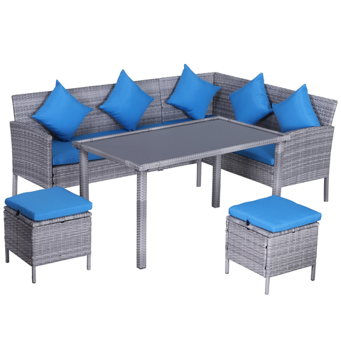 5pc Rattan Dining Sofa Patio Furniture Set - Bright Blue