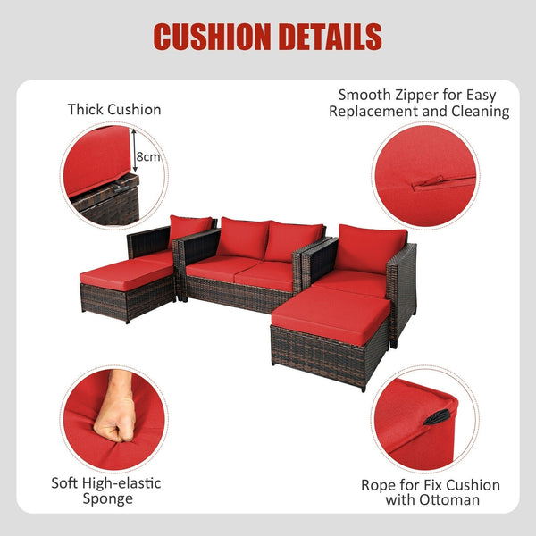 5 Pc Wicker Rattan Patio Cushioned Furniture Set - Red