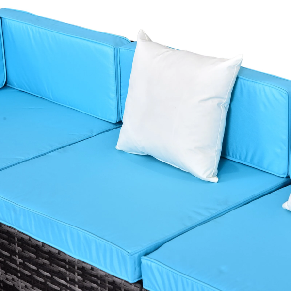 7pc Wicker Patio Furniture Sectional Sofa Set with Cushions - Aqua