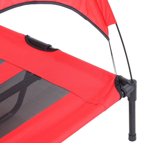 Raised Pet Puppy Cot with Shade in a Bag - Red