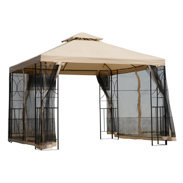 9.8x9.8 ft Gazebo Canopy with Mosquito Netting - Coffee and Cream