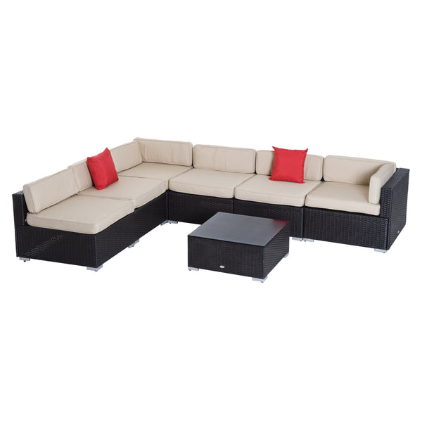 7pc Wicker Patio Furniture Sectional Sofa Set with Cushions - Beige