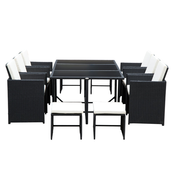11pc Rattan Patio Garden Dining Set - Black