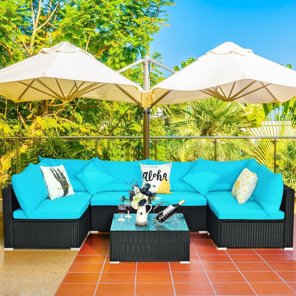 7pc Wicker Rattan Sectional Sofa Set with Cushions - Turquoise