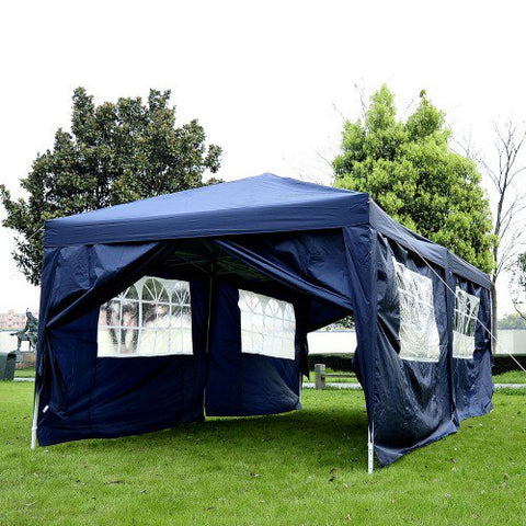 10x20 ft Pop Up Wedding Party 'Pavilion' Canopy Tent with 6 Sidewalls - Blue