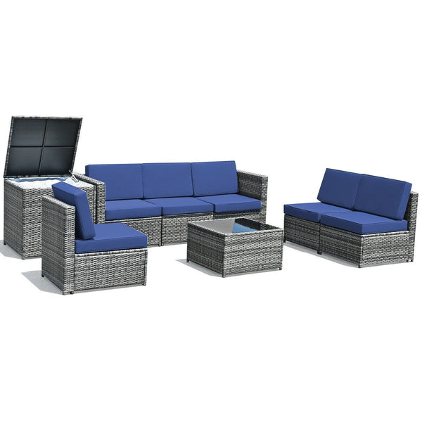 8 Piece Wicker Rattan Dining Set Patio Furniture with Storage Table - Navy