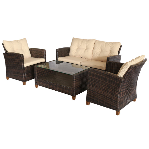 4pc Outdoor Wicker Patio Furniture Set - Coffee and Beige