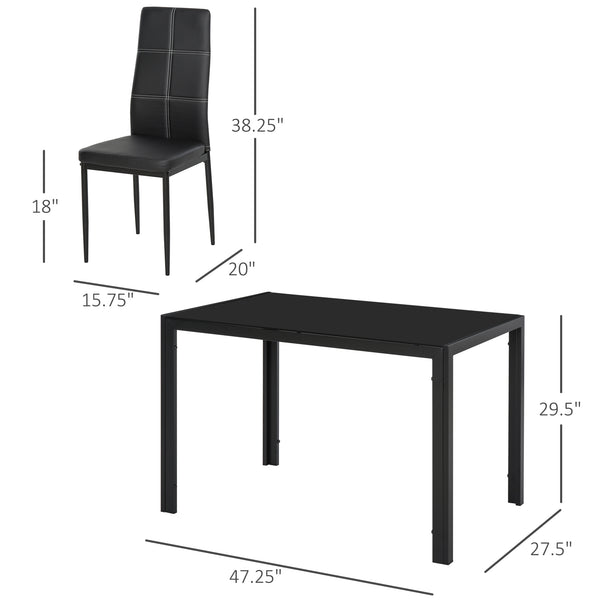 5pc Dining Set - Black