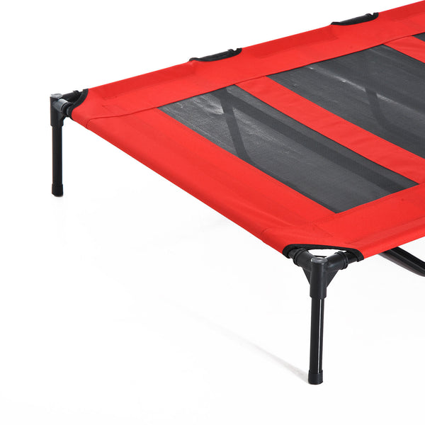 "Raised Pet Puppy Cot with Carry Bag - 48""L (Red)"