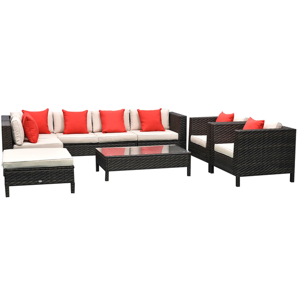 9pc Outdoor Sectional Rattan Wicker Furniture Lounger Set