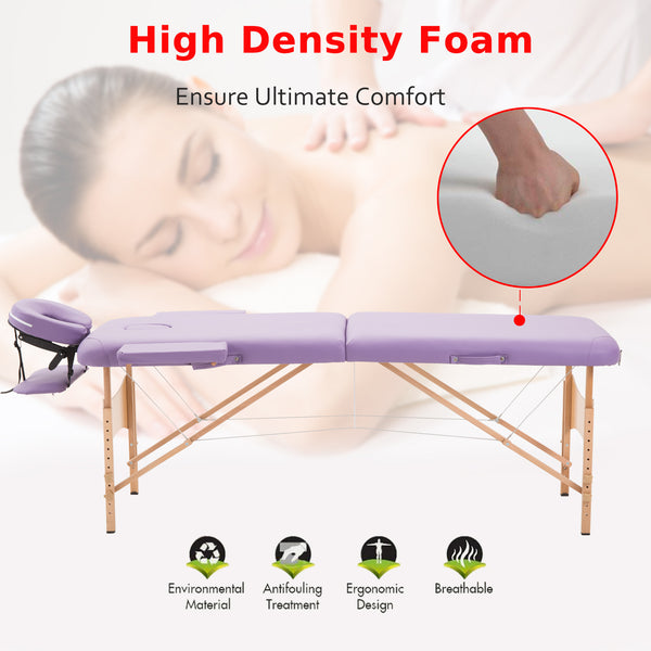 Ultra Portable Mobile Massage Table Bed Beechwood - Purple