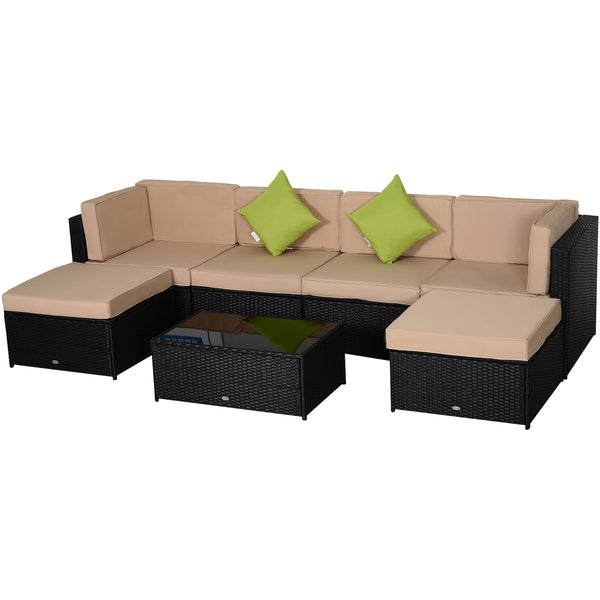 7pc Wicker Patio Sofa Set - Black and Khaki