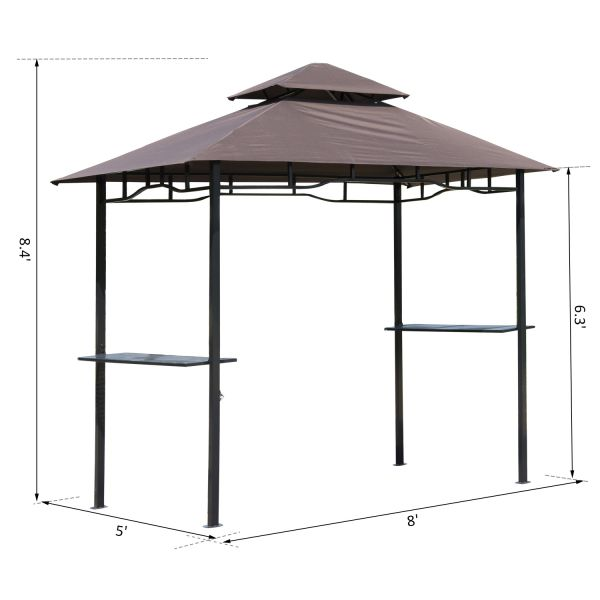 8x5 ft Gazebo with Polyester Canopy  - Coffee