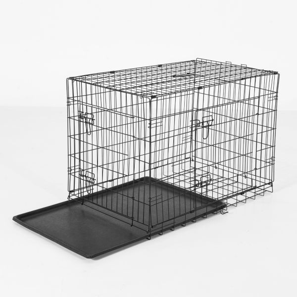 "48"" 2-Door Folding Dog Crate with Handle"