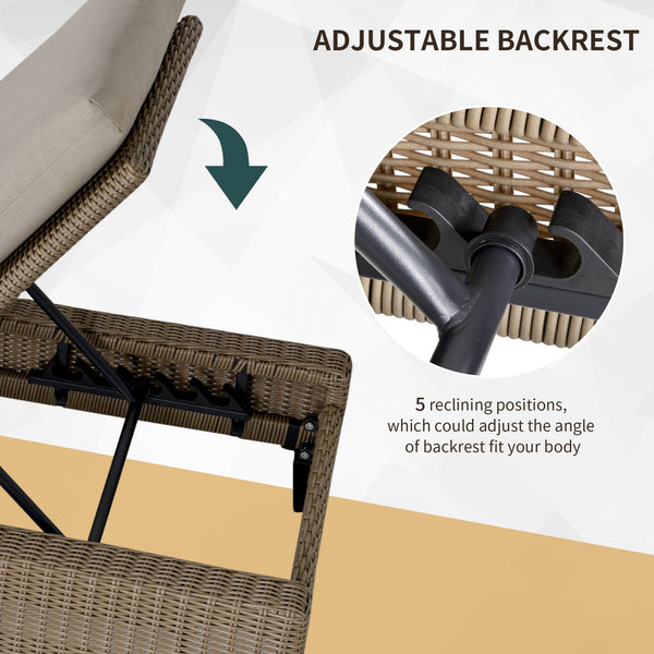 Outdoor Rattan Patio Chaise Lounge Chair