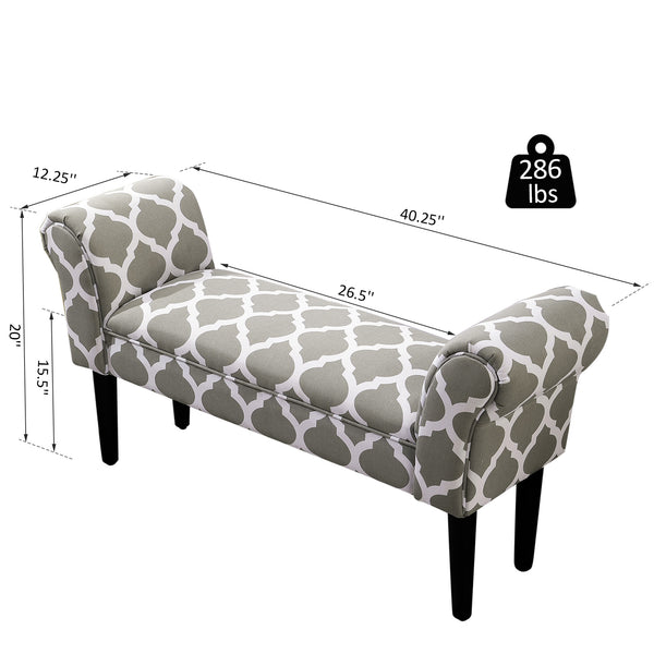 "40"" Bed Side Bench - Grey and White"