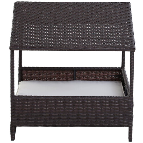 Outdoor Rattan Wicker Pet House Bed with Cushion
