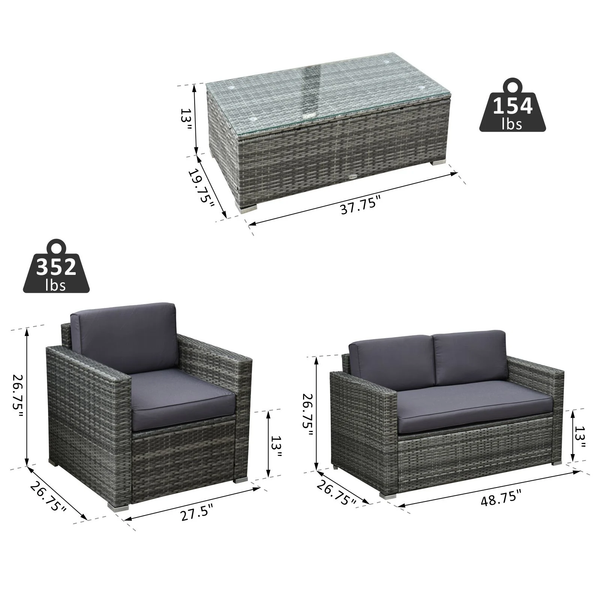4pc Wicker Patio Outdoor Garden Furniture Set - Grey
