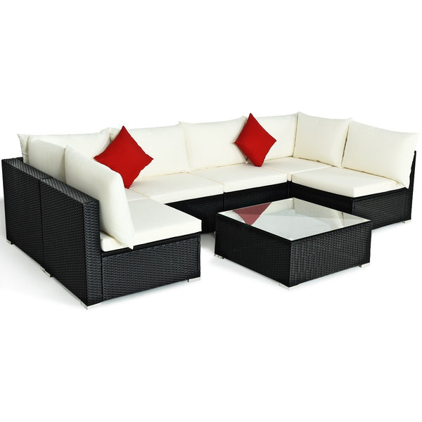 7pc Wicker Rattan Sectional Sofa Set with Cushions - White