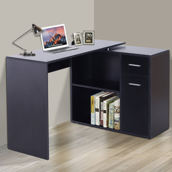 Computer Writing Desk with Cabinet - Black