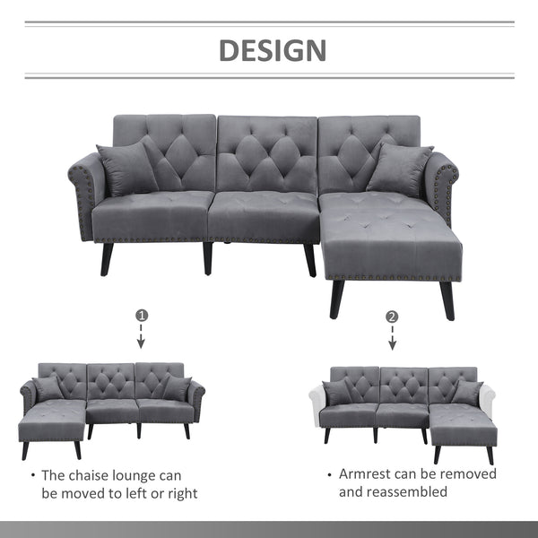 Button Tufted Modern 2 Piece Sofa Set and Chaise Lounge - Light Grey