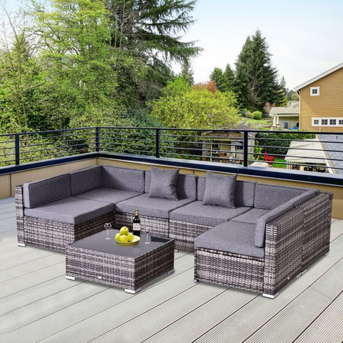 7pc Wicker Patio Furniture Sectional Sofa Set with Cushions - Grey