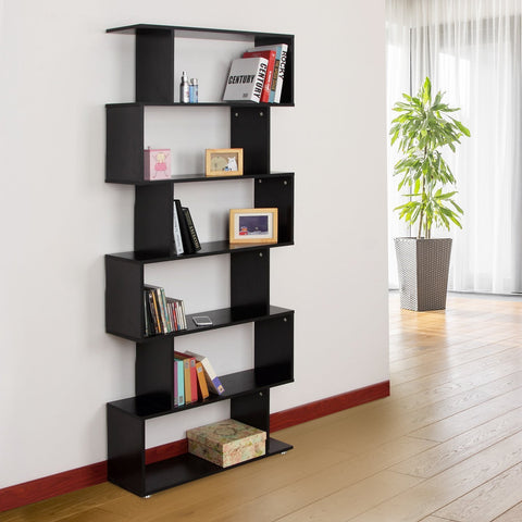 S-Shaped 6-Tier Shelf - Black