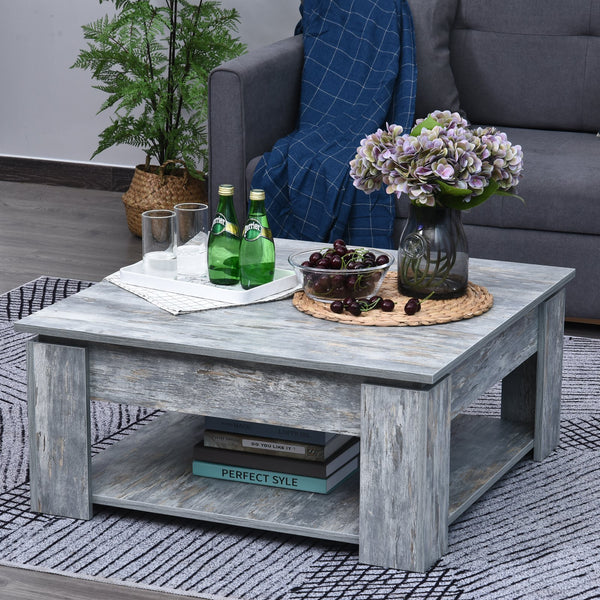 2 Tier Modern Coffee Table - Wood Grain