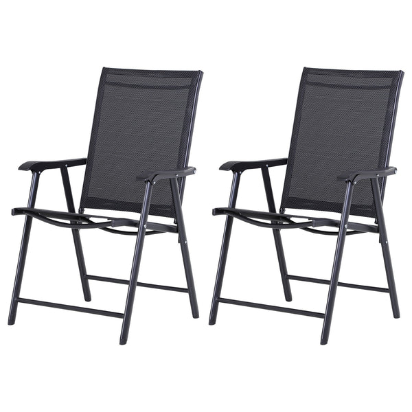 Outdoor Foldable Textline Garden Chairs - Set of 2