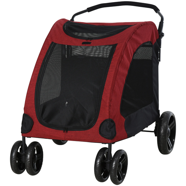 Folding  Pet Stroller Carrier -  Red