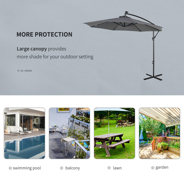 10 ft. Cantilever Outdoor Patio Umbrella with Solar Lights - Dark Grey