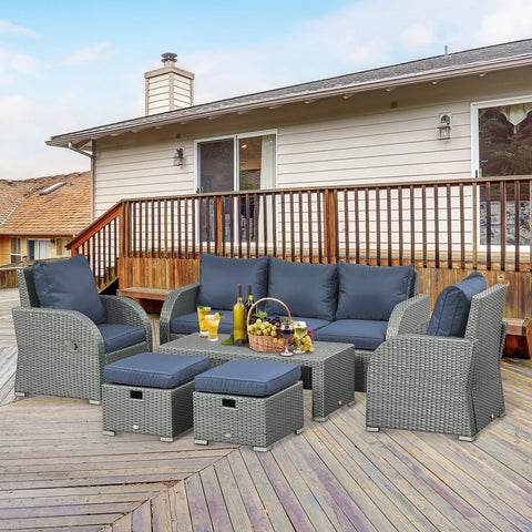 6pc Wicker Rattan Outdoor Patio Recliner Furniture Set - Dark Blue