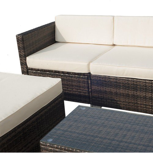 5pc Rattan Wicker Outdoor Sectional Sofa Patio Furniture Set - Beige