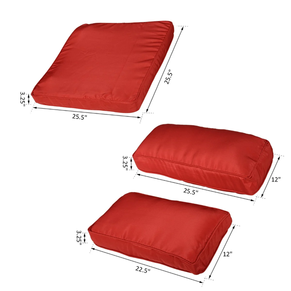 14pc Patio Rattan Sofa Set Cushion Cover - Red