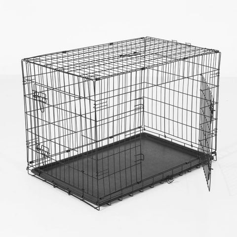 "30"" 2-Door Folding Dog Crate with Handle"