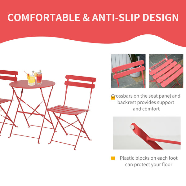 3pc Outdoor Foldable Dining Set - Red
