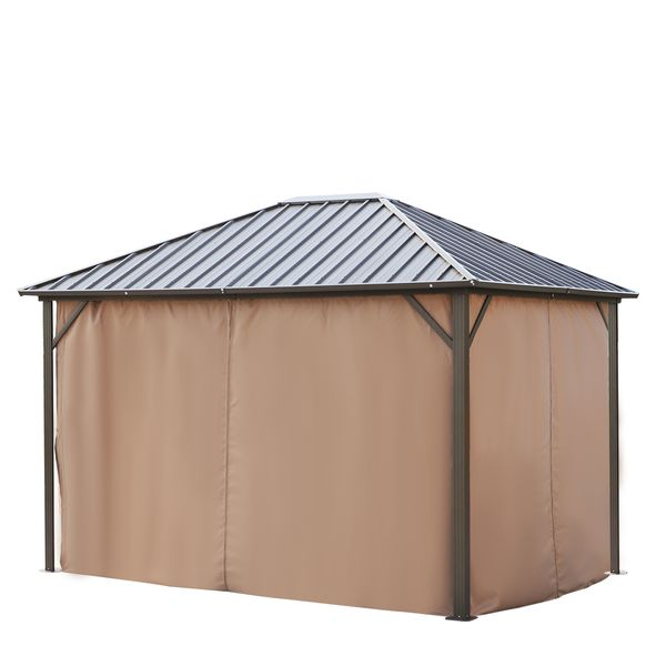 12 x 10 ft. Outdoor Deluxe Steel Hardtop Gazebo Canopy with Curtains - Brown