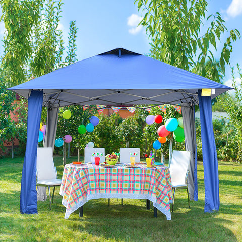 11x11 ft Outdoor Pop Up Party Tent with Carrying Bag - Blue