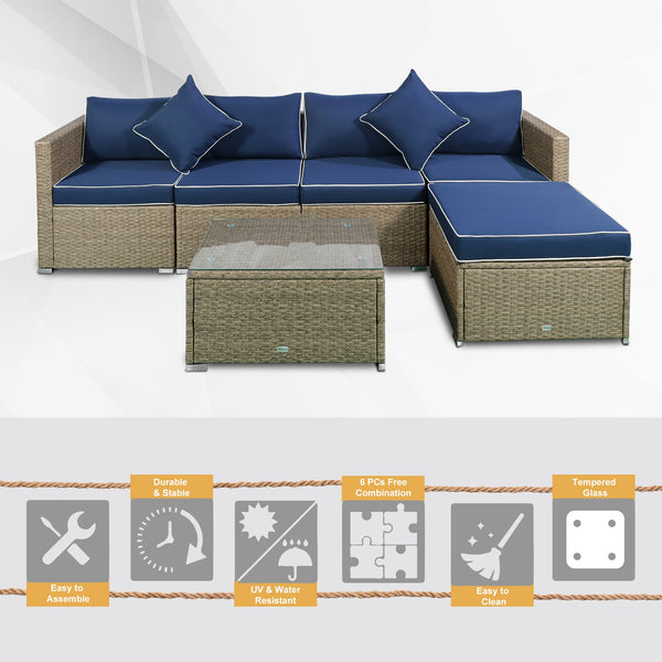 6pc Outdoor Rattan Sofa Furniture Set - Navy Blue