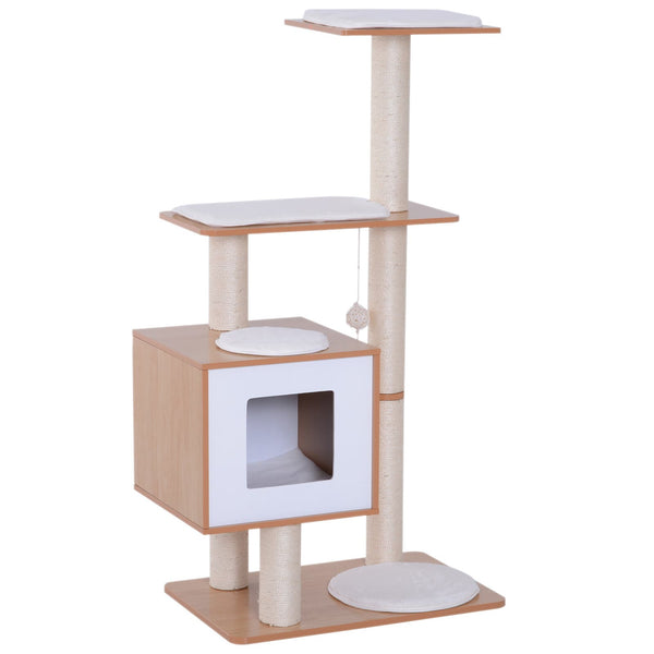 "47""  Cat Tree Condo with Scratching Post - Natural Wood & White"