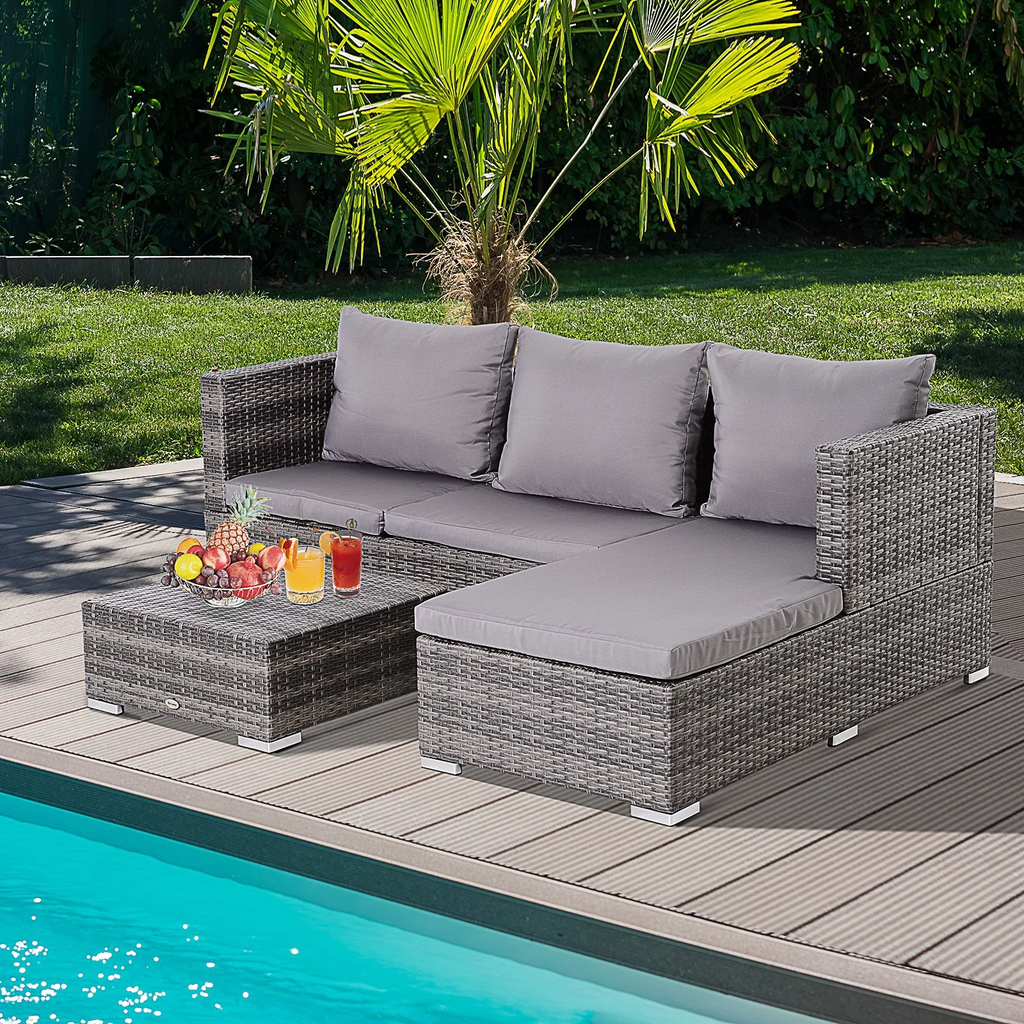 3pc Adjustable Outdoor Patio Garden Furniture Set - Light Grey