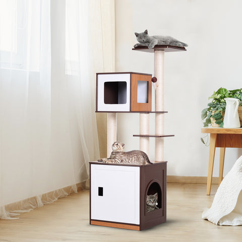 "24.75"" Multi-level Cat Tree Condo - Brown and White"