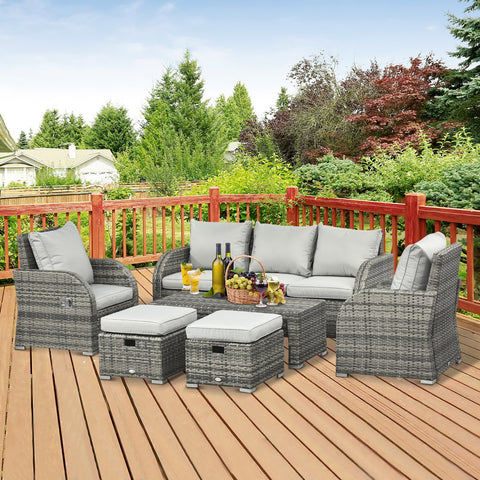6pc Wicker Rattan Outdoor Patio Recliner Furniture Set - Light Grey