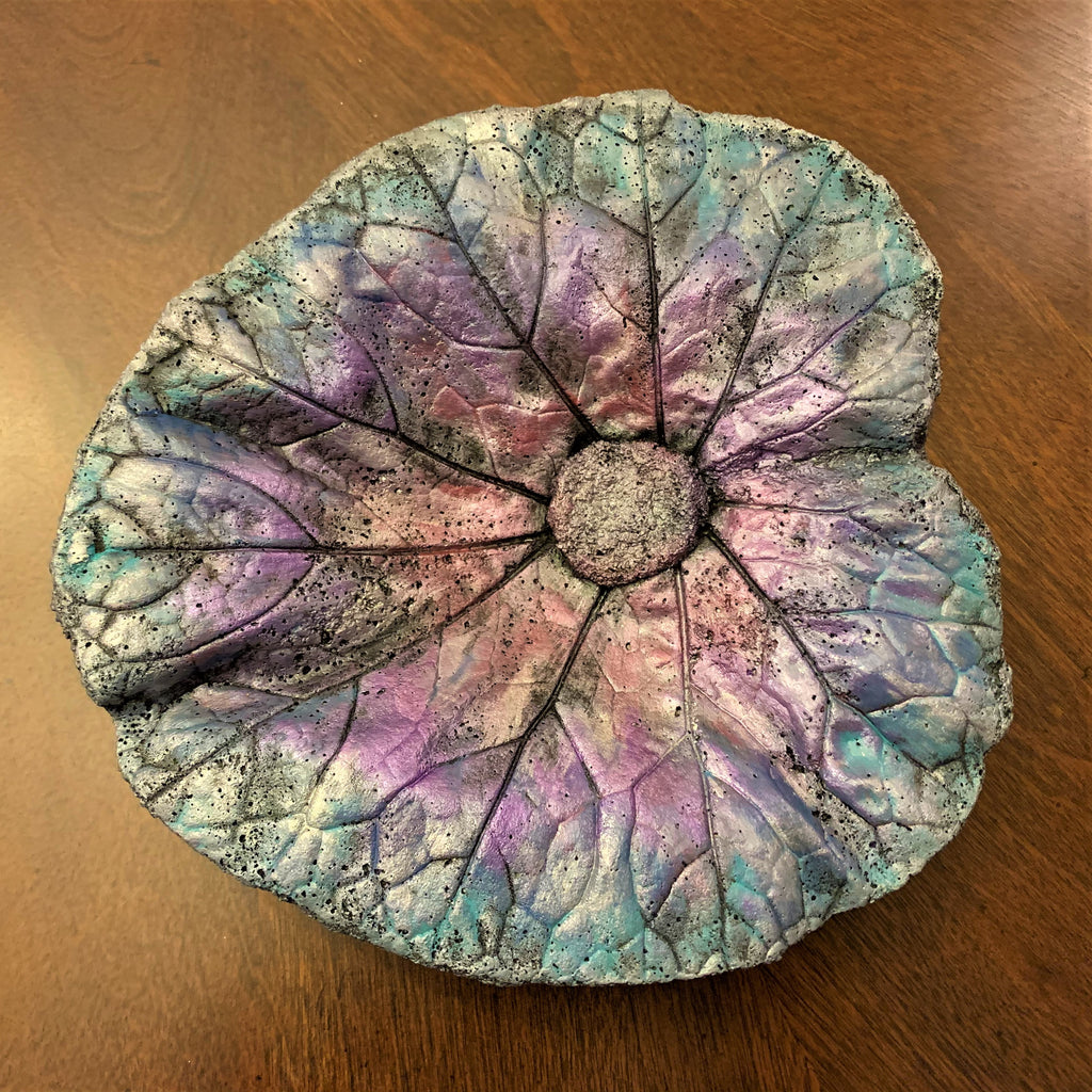 Decorative Handmade Concrete Leaf Casting - Metallic Purple and Blue w/ Silver Touch