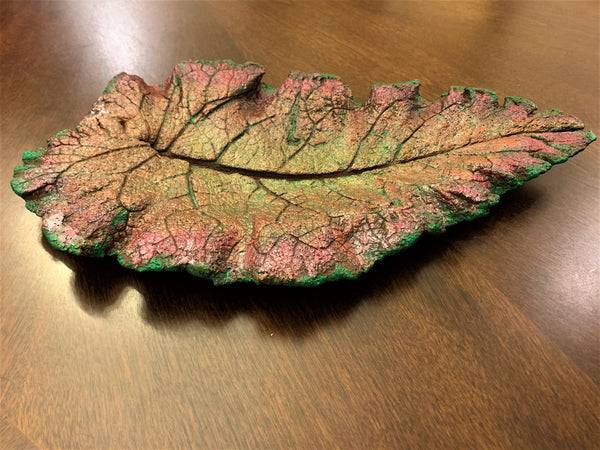 Decorative Handmade Concrete Leaf Casting - Green and Magenta w/ Silver Touch