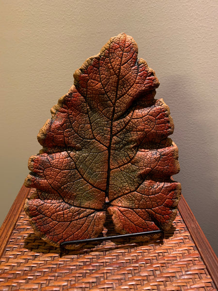 Decorative Handmade Concrete Leaf Casting - Metallic bronze, Gold and Green