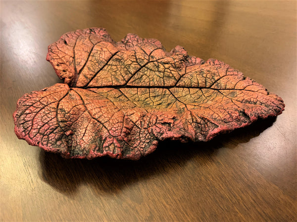 Decorative Handmade Concrete Leaf Casting - Metallic Magenta, Green and Rose Gold