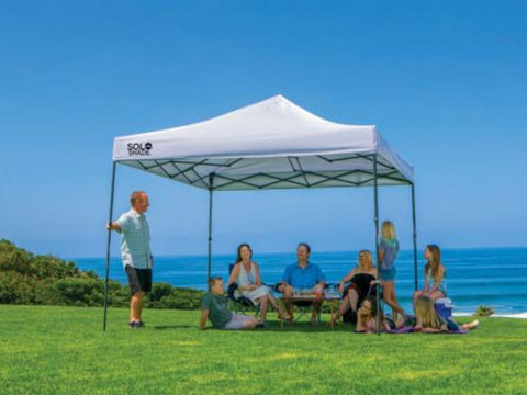 10x10 ft. Solo Steel Height Adjustable Straight Leg Premium Pop-Up Canopy Tent - Assorted Colours